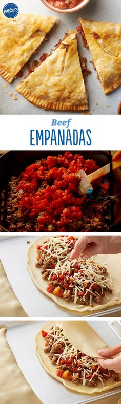 Beef Empanadas Recipe - Think empanadas are hard to make? Think again! It's easy to throw together this South American classic when you start with Pillsbur pie crusts. The filling is simple, too. Cheesy ground beef and vegetables give these empanadas big flavor without any fuss.