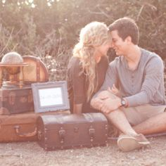A romantic, indie-chic, travel lovers engagement shoot on the beach #weddinggawker