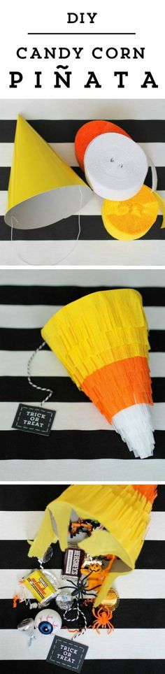 Make this a Christmas tree pinata for a party or even a fun way to wrap a gift! This diy candy corn pinata for halloween is sure to be a smash at your party! Make sure to watch the video tutorial for this project as well. Halloween Boo, Halloween Birthday, Halloween Games, Holidays Halloween, Halloween Treats, Happy Halloween, Halloween Decorations, Halloween Favors, Pinata Halloween