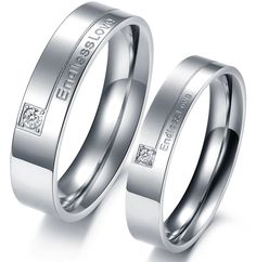 """Endless Love"" Titanium Stainless Steel Mens Ladies Couple Promise Ring Wedding Bands Matching Set ,Best personalized gifts for him or her on Yoyoon.com"