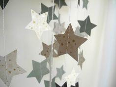 Christmas star garland, Xmas decoration, Holiday decoration, Gold & forest green garland, Christmas party garland