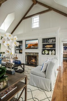 the bookcase/fireplace is a more grand scale, but inspiration for color and design.