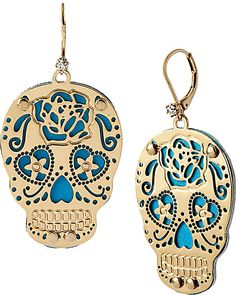 PHOTO ETCH SKULL DROP EARRINGS BLUE accessories jewelry necklaces fashion
