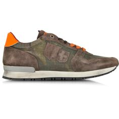 D Acquasparta Botticelli Camouflage Brown Suede and Fabric Men s Sneaker 2cfbdb0eb43