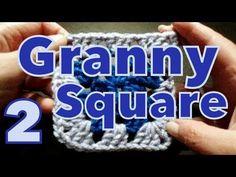Cómo cambiar de color en cuadrado (change colour in granny's) reeditado -tejido para zurdos- - YouTube