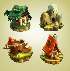 ArtStation - Side-Scrolling_map icon, H J W Game Design, Prop Design, Design Art, Casual Art, 2d Game Art, Map Icons, Environment Concept Art, Game Environment, Isometric Art