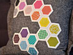 bijou lovely: pillow talk swap, round 9. Hexagon Pattern, Hexagon Quilt, Rainbow Quilt, Quilted Pillow, English Paper Piecing, Pillow Talk, Throw Pillow, Applique Quilts, Mini Quilts