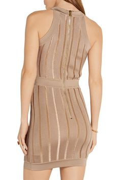 Taupe stretch-knit Zip fastening along back 70% viscose, 30% polyamide Dry clean Designer color: Sable Made in Italy