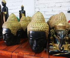 Head of the Buddha and Ganesh in a studio at Artisans Angkor in Siem Reap Cambodia   via WanderShopper