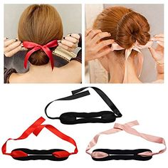 SelfTek 3Pcs Ribbon Magic Twist Bun Maker Roll Rings Clip Foam Donut Hairband Curler Tool Pink Red and Black >>> Click image to review more details. We are a participant in the Amazon Services LLC Associates Program, an affiliate advertising program designed to provide a means for us to earn fees by linking to Amazon.com and affiliated sites.