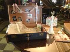 Vintage suitcase wedding table plan and post box  email: info@brideslittlehelper.co.uk