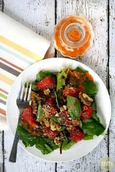Clean Eating Watermelon Salad with Watermelon Vinaigrette...raw, vegan, gluten-free, dairy-free, paleo-friendly and no refined sugar | The Healthy Family and Home | #rawfoods #vegan #glutenfree #cleaneating #salads