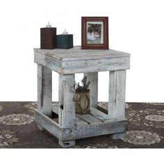 Reclaimed Wood End Table #mueblesrecicladospalets #pallettable #woodworkingtable #palletfurnitureideas