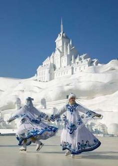 Is that a snow sculpture behind e skaters // Ice Skating Show at the Ice and Snow Festival in Harbin, China Harbin, Baile Jazz, World Festival, Ice Art, Snow Sculptures, Snow Art, Festivals Around The World, Snow And Ice, Winter Beauty
