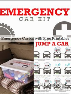 Emergency Car Kit with Free Printables - Housewife Eclectic Car Cleaning, Cleaning Hacks, Edc, Life Hacks, Car Care Tips, Automobile, 72 Hour Kits, In Case Of Emergency, Emergency Kits