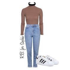Polyvore for Soph Style Board  Jeans from Topshop $77AUD Turtleneck from nelly.com $28AUD Choker from Bardot $14.95 Adidas Superstars $120AUD