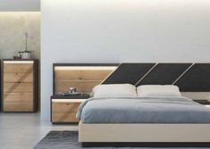 Love how the headboard and bedroom furniture match, but aren't identical in design in this contemporary bedroom Living Furniture, Bed Furniture, Furniture Design, Modern Bedroom Furniture, White Furniture, Door Design Interior, Bedroom Bed Design, Bed Headboard Design, Contemporary Bedroom
