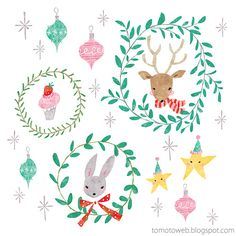 tomoto: Christmas Wreaths : Reindeer and Rabbit