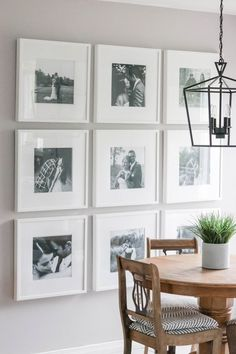 Photo Gallery Wall reveal with tips and tricks for putting up your very own picture galleries! {DIY + Wall Makeover} paredes blancas Interior Decorating Advice For The Decorating Challenged Frame Wall Collage, Photo Wall Collage, Wall Collage Picture Frames, Collage Pictures, Picture Walls, Bedroom Wall Collage, Kitchen Gallery Wall, Dining Room Wall Decor, Dining Room Picture Wall