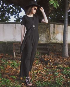 Jumpsuit - ADA | Necklace & Sunglasses - Unbranded | Hat - Fab.Id | Sandals - American Eagle #fashion #personalstyle