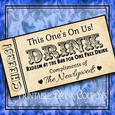 DIY Weddings Printable Grunge Drink Tickets DIY Wedding Instant by iDoDiY, $4.50