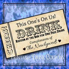 DIY Weddings Printable Grunge Drink Tickets DIY Wedding Instant by iDoDiY, $4.50