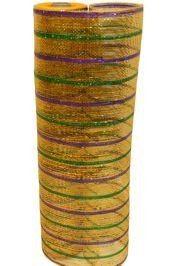 21in x 30ft Metallic Purple/ Green/ Gold Multi Stripe Mesh Ribbon