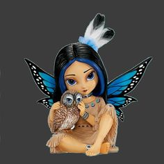 Nightsmind By Jasmine Becket-Griffith Blue winged Native American fairy with owl
