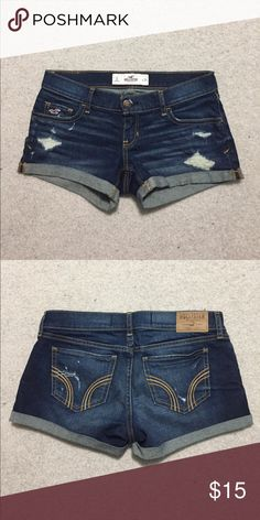Hollister distressed denim shorts Minimally distressed denim shorts from hollister. Only worn 3 times and in great condition! Too small for me now, but great for the summertime :) Hollister Shorts Jean Shorts