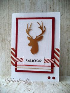 CAS  red and white Christmas card with reindeer