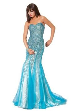 Jovani LE7472, a mermaid sparkly blue dress
