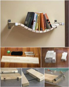 Accent Rope Bridge Wall Bookshelf - 50 DIY Shelves - Build Your own Shelves - DIY & Crafts