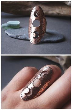 Moon Phases shield ring by Alice Savage. Made with recycled copper, eco friendly saddle ring for the moon child, with a rustic, antique hammered look. Bohemian, boho, gypsy style.