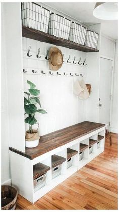 Home Renovation, Home Remodeling, Mudroom Laundry Room, Bench Mudroom, Entryway Bench Coat Rack, Mud Room Garage, Entry Bench, Laundry Room Design, Farmhouse Shutters