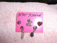 HOT RARE ! Betsey Johnson NWT Rhinestone Sparkle 5 Piece Earrings Set  #BetseyJohnson #StudDangle