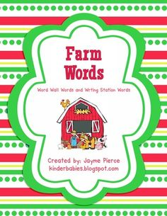 Farm Fun Words!  from Kinderbabies on TeachersNotebook.com -  (8 pages)