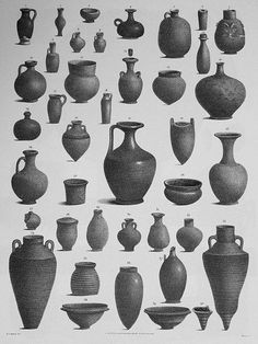 """seriation - """"Clay Pots from Egypt from Various Times and Places"""" """"Egyptian Pots"""": An illustration of clay pots from Egypt from various times and places, published in Description De L'Egypte, 1800 Ceramic Techniques, Pottery Techniques, Ceramic Pots, Clay Pots, Pottery Vase, Ceramic Pottery, Porcelain Dolls For Sale, Fine Porcelain, Porcelain Tile"""