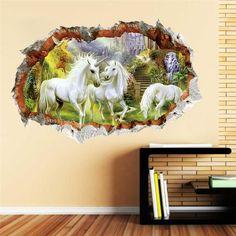 3D Effect Window View Pegasus Unicorn Fantasy Sticker Wall Poster Vinyl GA1-390