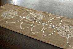 Brown and Off White Modern Sunflower Embroidery Table by KainKain