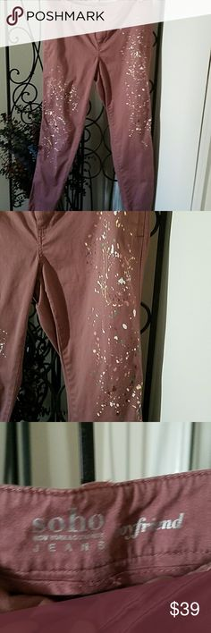 New York & Co Splash of Paint Chinos Brand NWOT.  Size 8. Soo cute. Splashes of paint on both legs. A dark mauve/rose color. New York & Company Pants