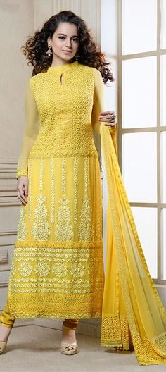 421912: Look like #KanganaRanaut - #Salwarkameez #monotone #yellow #embroidery #FauxGeorgette, Moti.  #Partywear #Bollywood #onlineshopping