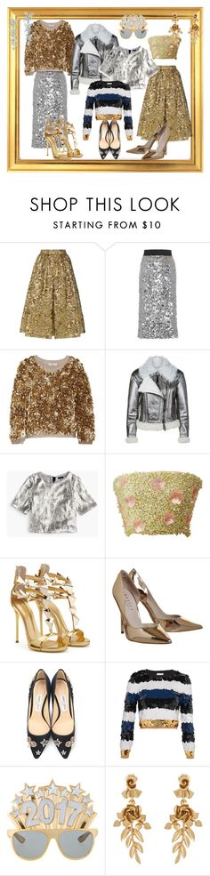 """""""sequined new years"""" by laury-ben ❤ liked on Polyvore featuring Prada, Dolce&Gabbana, Burberry, J.Crew, Jimmy Choo, Sonia Rykiel, Oscar de la Renta, Tiffany & Co., NewYears and gold"""