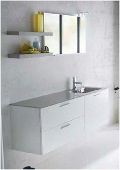 Bagno laccato venato bianco seta piano top in vetro laccato  completo di 3 cestoni ammortizzati piu cassetto interno