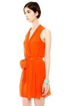 Belted V-Neck Dress in Orange.