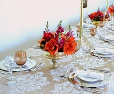 Peonies and pincushions are a perfect summer floral combination. Pair it with a gold container and a damask table cloth. #eventplanning #eventstyling