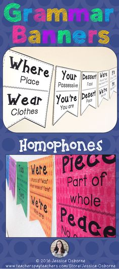 Banners: Homophones and Commonly Misused Words Posters Grammar Banners: Homophones and Commonly Misused Words. Decorative and useful banners for your classroom! Ela Classroom, Classroom Posters, Classroom Setup, Future Classroom, Classroom Organisation Primary, English Classroom Displays, Year 3 Classroom Ideas, Classroom Decor Primary, Classroom Board