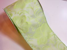 Green Ribbon, Design Studio Nadine Wired Fabric Ribbon 4 inches wide x 10 yards, Full Bolt of Green Flower Ribbon by GriffithGardens on Etsy