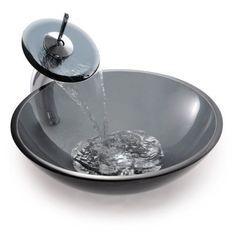 Kraus Clear Black Glass Vessel Sink and Waterfall Faucet Glass Bathroom Sink, Modern Bathroom Sink, Glass Vessel Sinks, Pedestal Sink, Bathroom Ideas, Bathroom Cabinets, Bathroom Vanities, Bathroom Designs, Bathroom Inspiration
