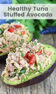 This Healthy Tuna Stuffed Avocado is stuffed with a flavorful southwest mixture of tuna, bell pepper, jalapeno, and cilantro. No mayo necessary here! It's the perfect healthy lunch. ** CLICK PIN TO LEARN MORE! Healthy Drinks, Healthy Snacks, Healthy Recipes, Dinner Healthy, Dessert Healthy, Breakfast Healthy, Breakfast Recipes, Simple Recipes, Dinner Recipes