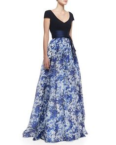 Short-Sleeve Combo Floral Ball Gown, Delft Blue by Theia by Don O\'Neill at Neiman Marcus.